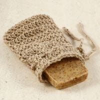 A crocheted soap pouch from natural twine