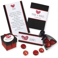 A red and black Invitation, Place Card, Menu Card and Table Decorations
